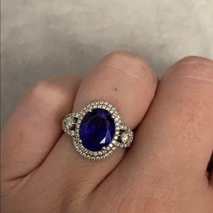 Jewelry - 2 carat + genuine oval tanzanite diamond halo ring